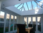 Completed orangery bringing light in to the kitchen and dining area